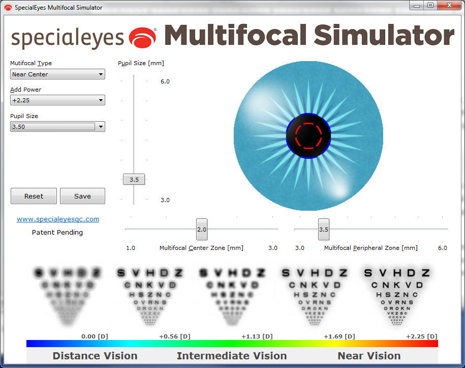 represents the trial toric multifocal contact lenses (2.0mm near center zone and a 3.5mm peripheral zone) based on the patient's approximate pupil measurement of 3.5mm. The image to the far left represents distance vision and you can see that the image is somewhat degraded and blurred.