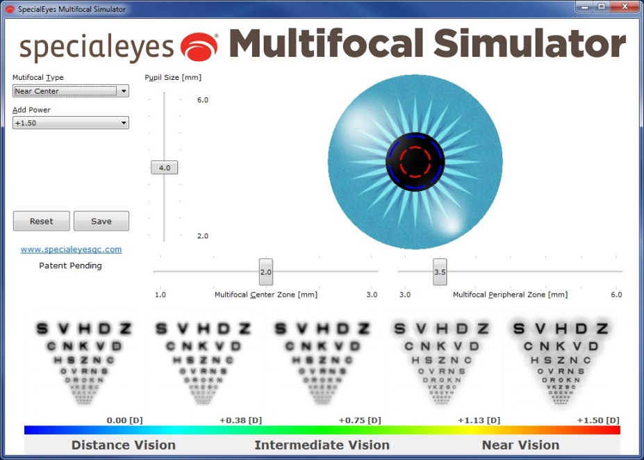 An example of the SpecialEyes Multifocal Simulator, displayed on screen along with a series of images representing the progression from distance to near vision across the specified add-power range.