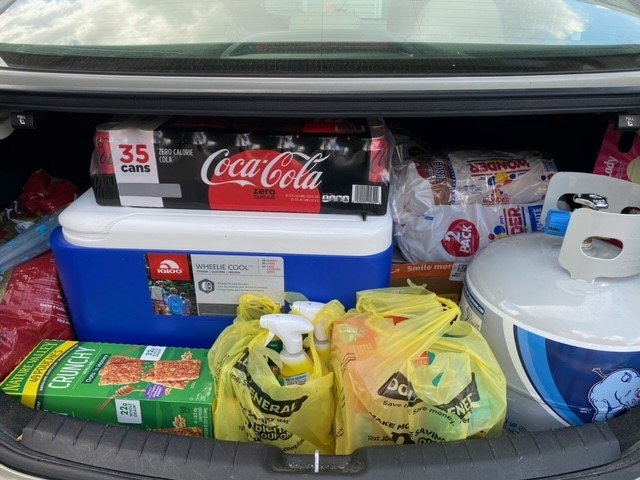 Our account manager, Dawn, brings necessary supplies from Florida to Louisiana.