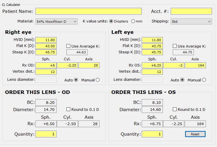 SpecialEyes Arc Length Calculator helps determine the ideal base curve and diameter for your patient.