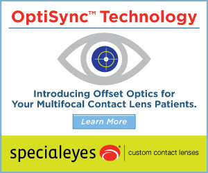 OptiSync (TM) Technology | Introducing Offset Optics for Your Multifocal Contact Lens Patients | LEARN MORE | Specialeyes Custom Contact Lenses